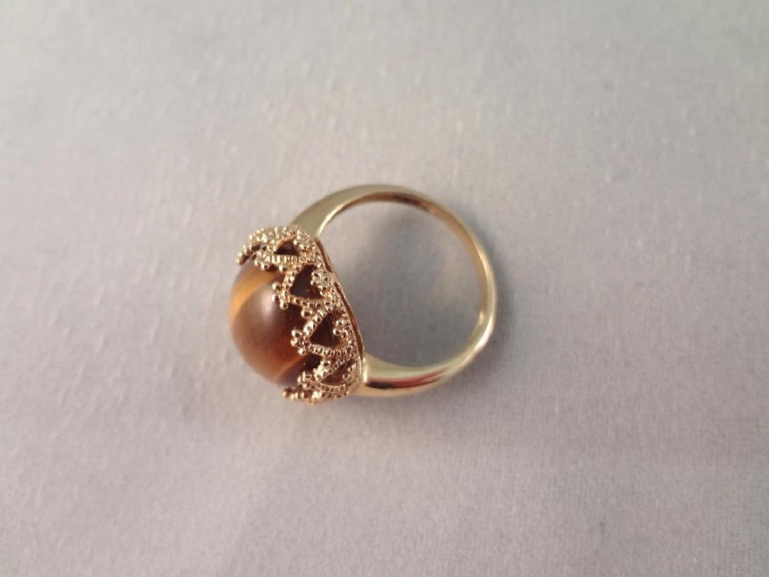14K Gold Ring with Oval Tiger Eye Cabochon Gold Wrapped - 3