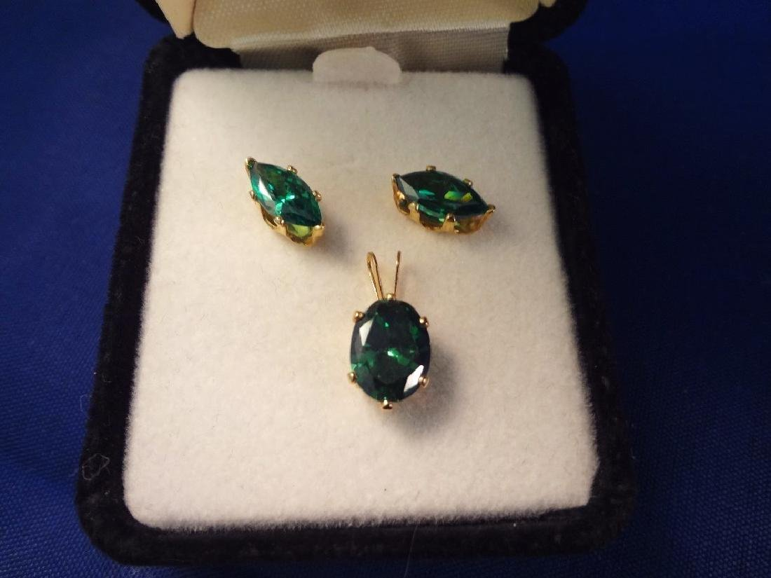 14K Gold Emerald Pendant and Earrings