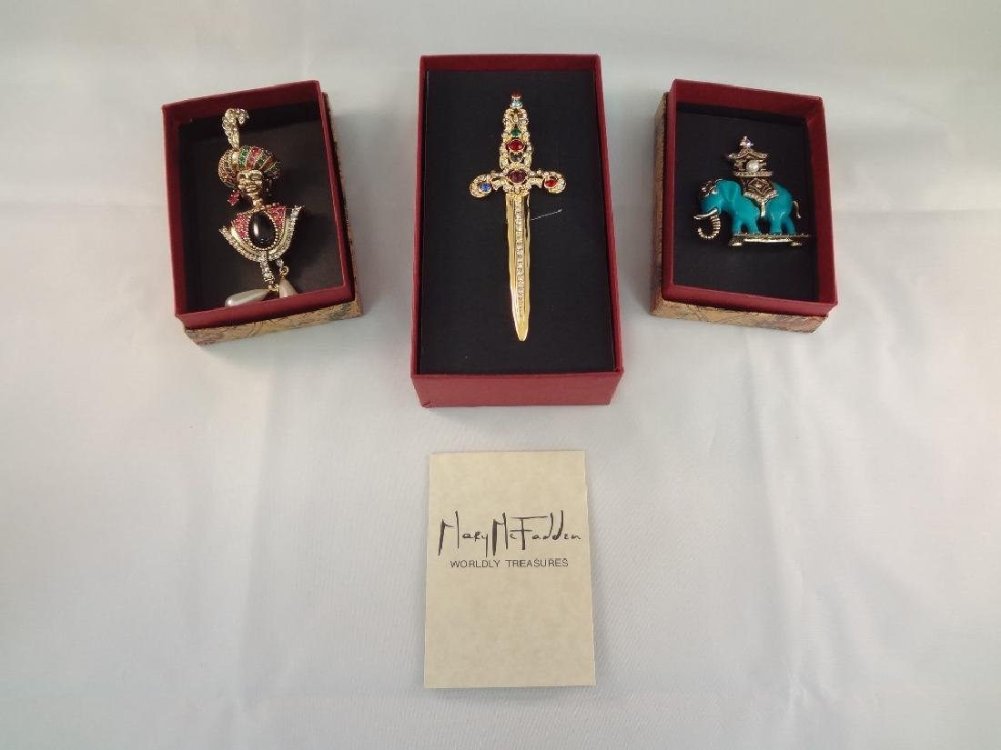 (3) Mary McFadden Brooches in Original Boxes