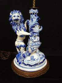 Galle St. Clement Faience 19th Century Lamp: Lion with
