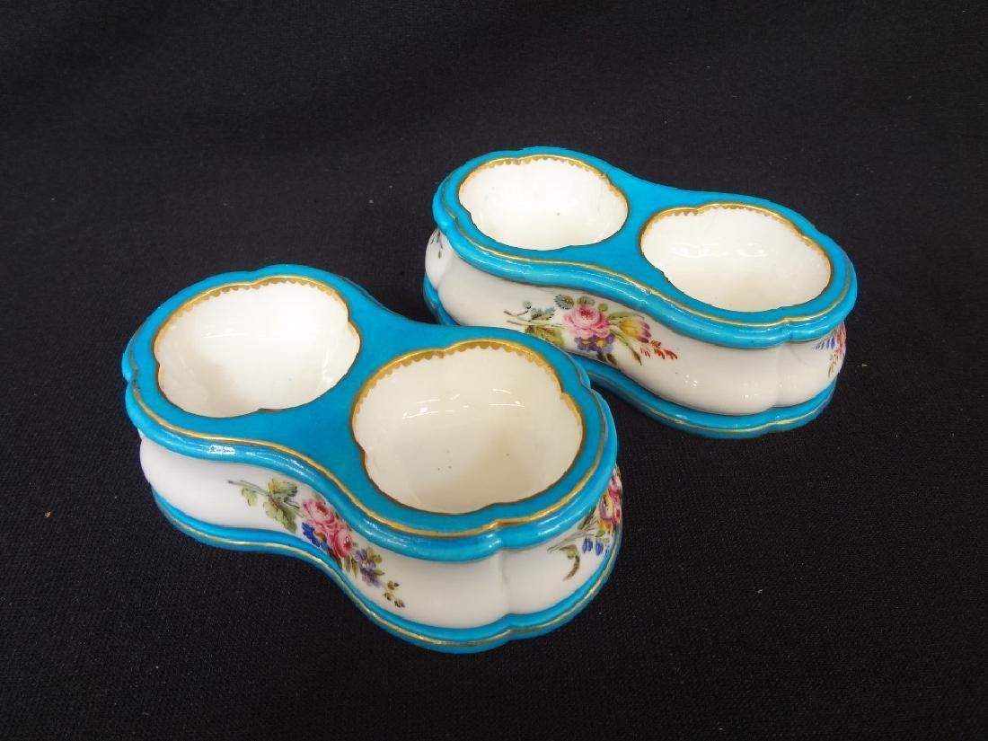 Sevres French Porcelain (2) Salt Cellars Pierre Louis