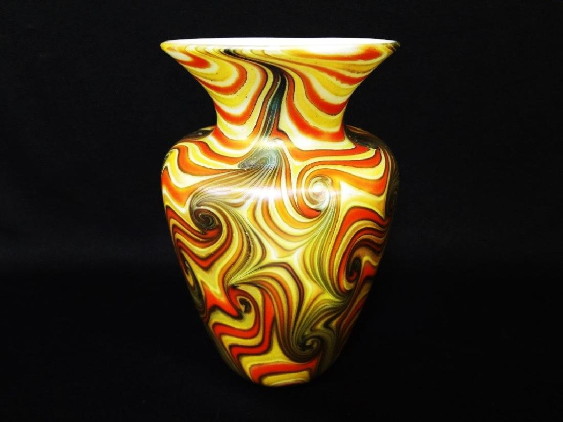 "Durand Art Glass Flared Top Vase ""King Tut"" Pattern"