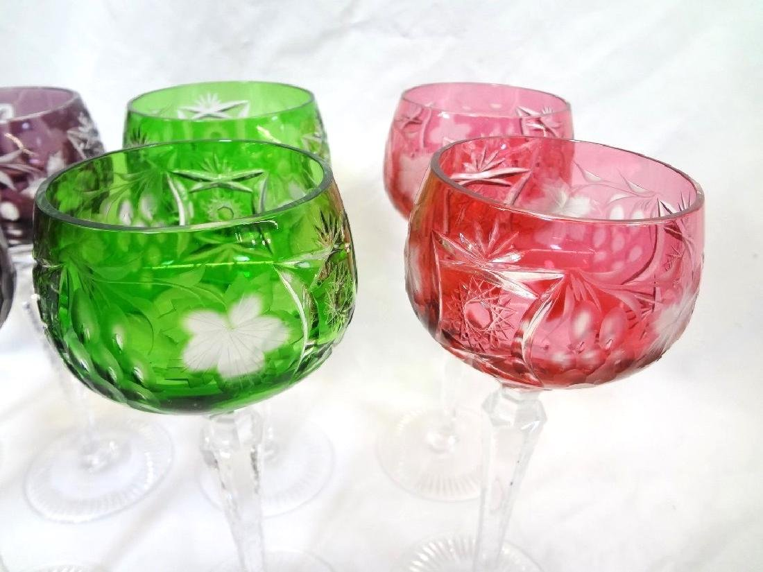 (8) Moser/Bohemian Cut to Clear Glass Stems 4 Colors - 3