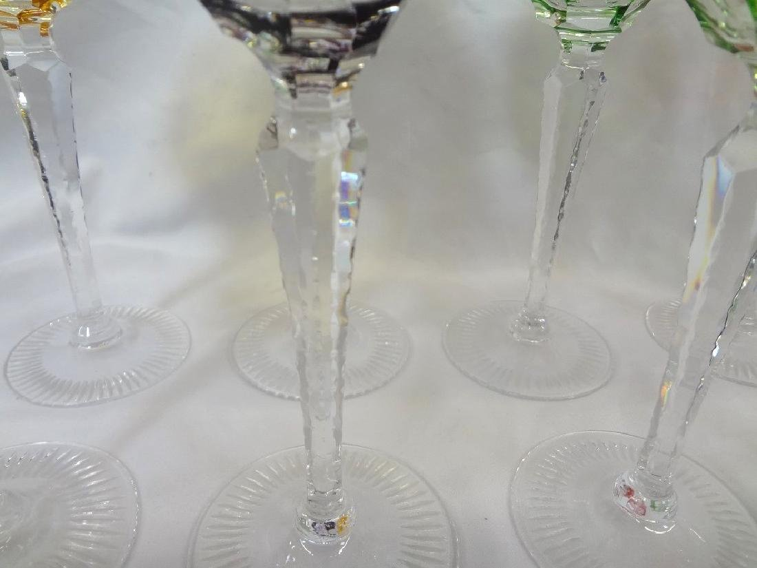 (8) Moser/Bohemian Cut to Clear Glass Stems 4 Colors - 4