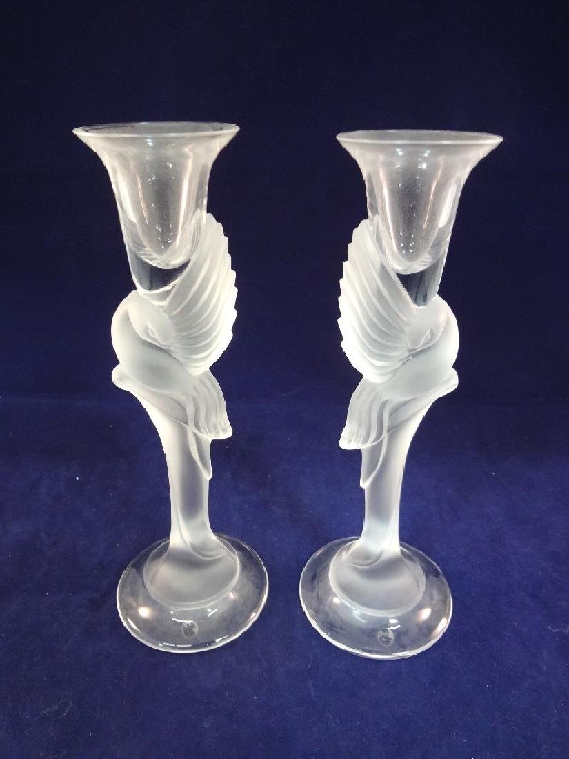 Pair Igor Carl Faberge Snow Doves Candle Holders