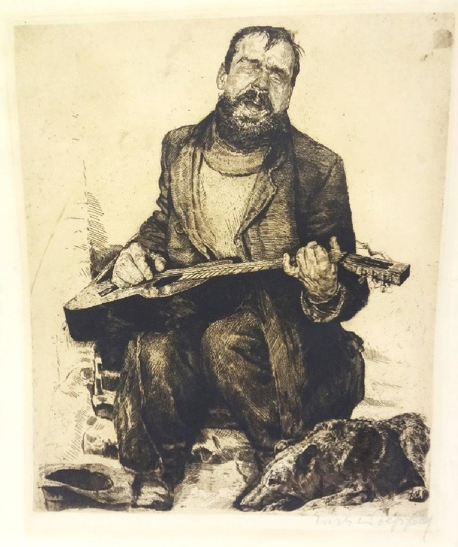 Large Etching Blind Man Playing Guitar with Dog Signed