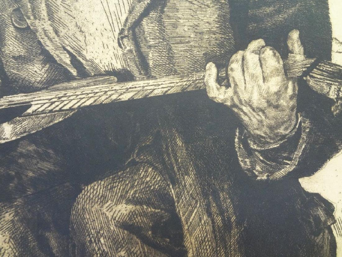 Large Etching Blind Man Playing Guitar with Dog Signed - 4