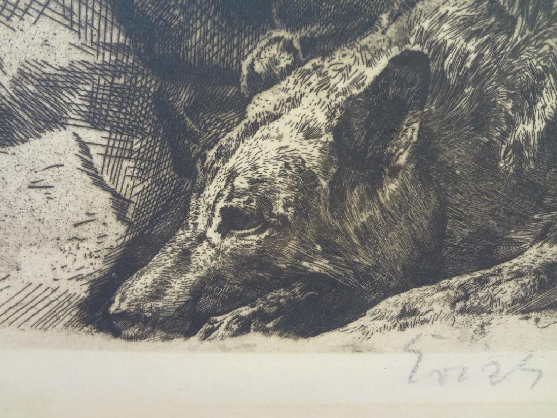 Large Etching Blind Man Playing Guitar with Dog Signed - 5