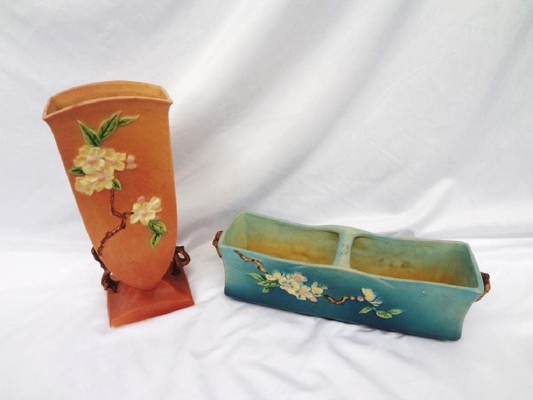 Roseville Pottery Apple Blossom Planter and Vase
