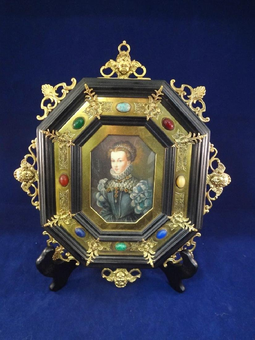Ida Calzolari Oil on Board Portrait Painting Ornate