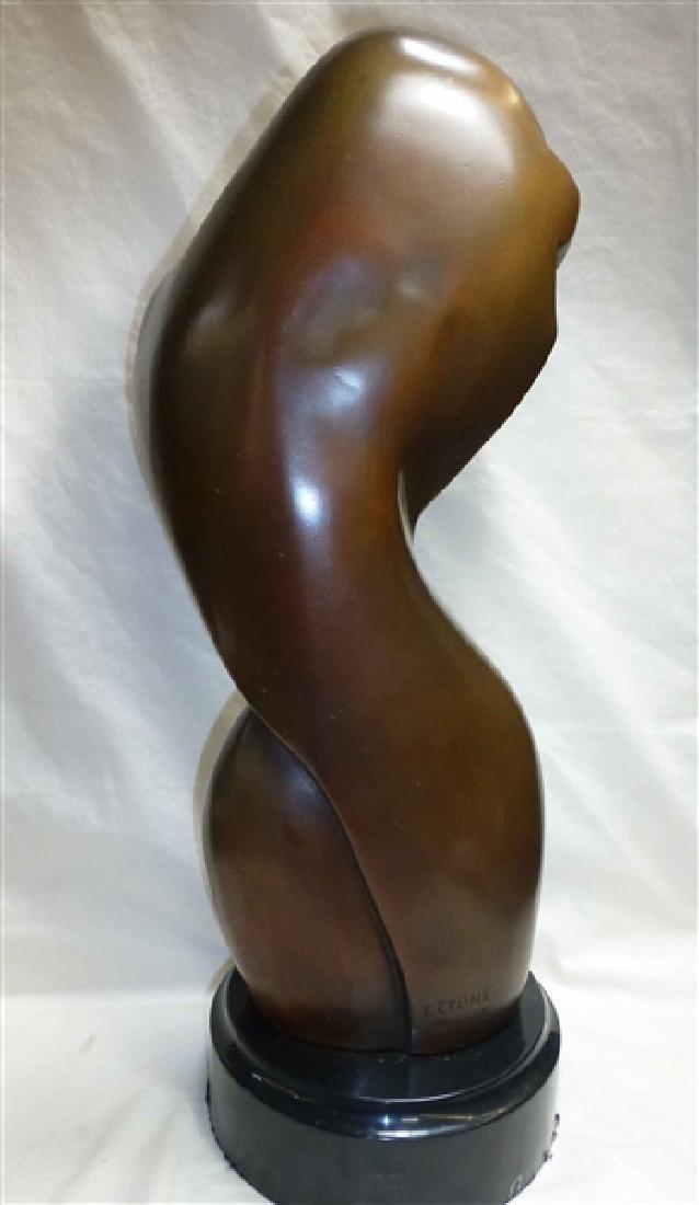 "c. 1900 T. Etling(France) Wood Sculpture 22"" - 2"