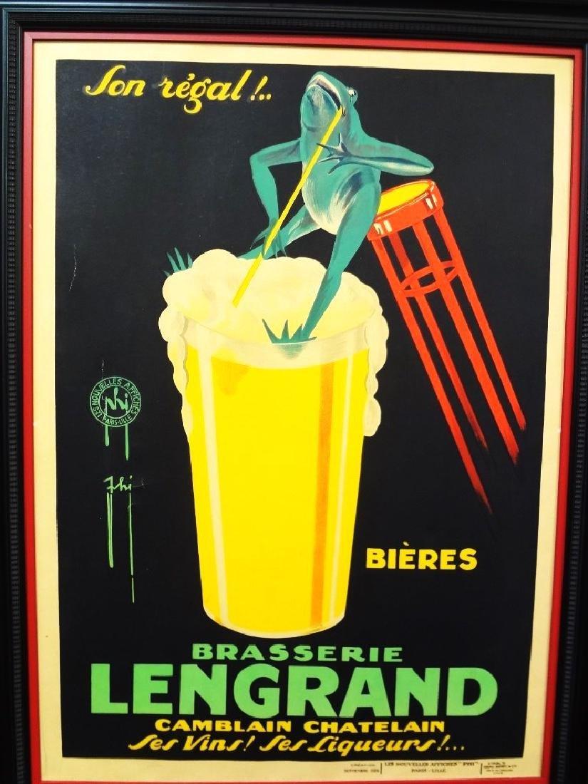 1926 Brasserie Lengrand Frog and Beer Original Paris