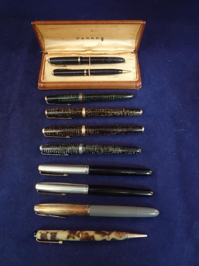(9) Parker Fountain Pens and (1) Pencil Group