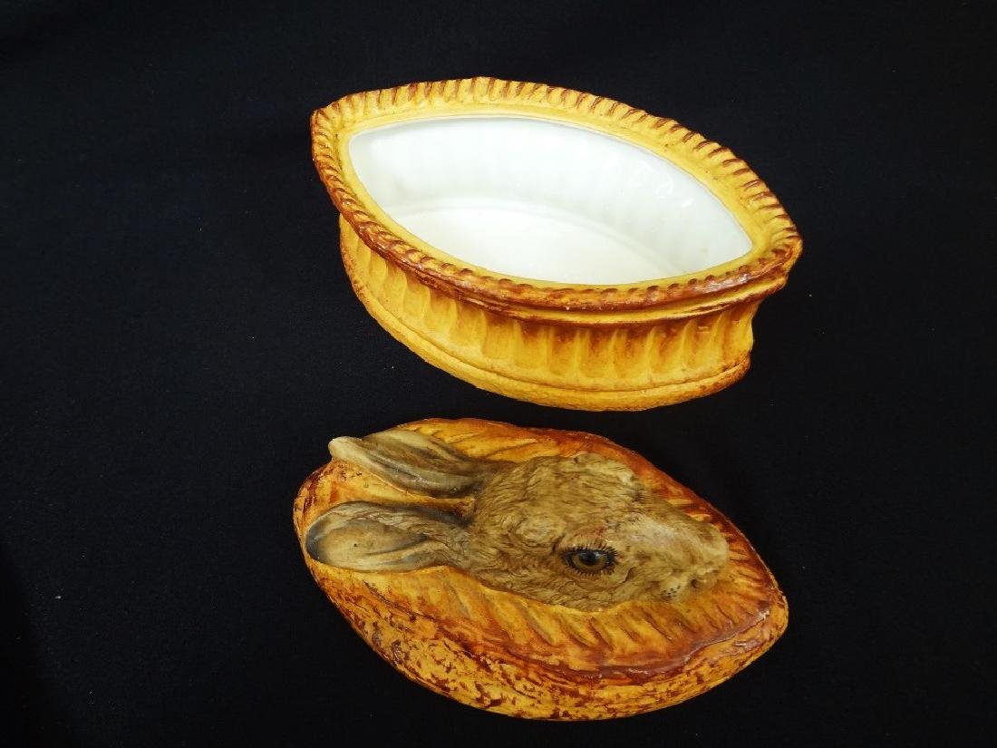 Pilivite French Covered Game Pie Dish Rabbit Finial - 3