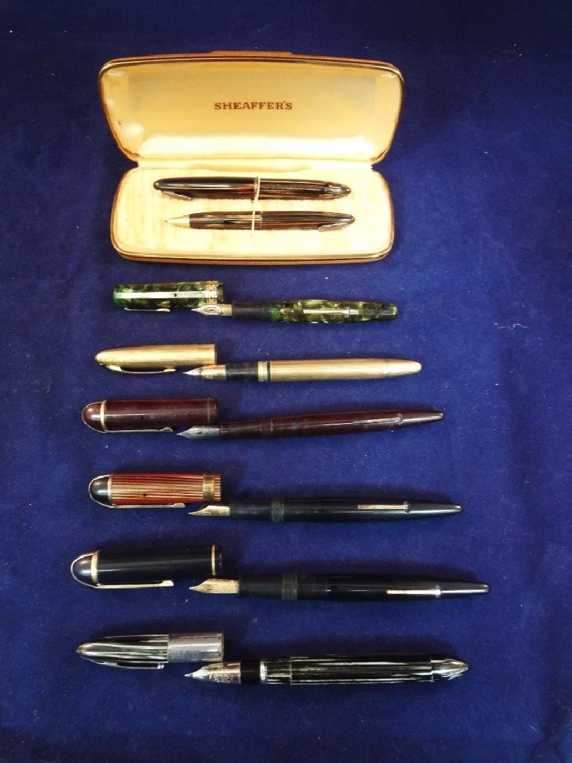 (7) 14k Gold Nib Fountain Pen Group: Sheaffer,