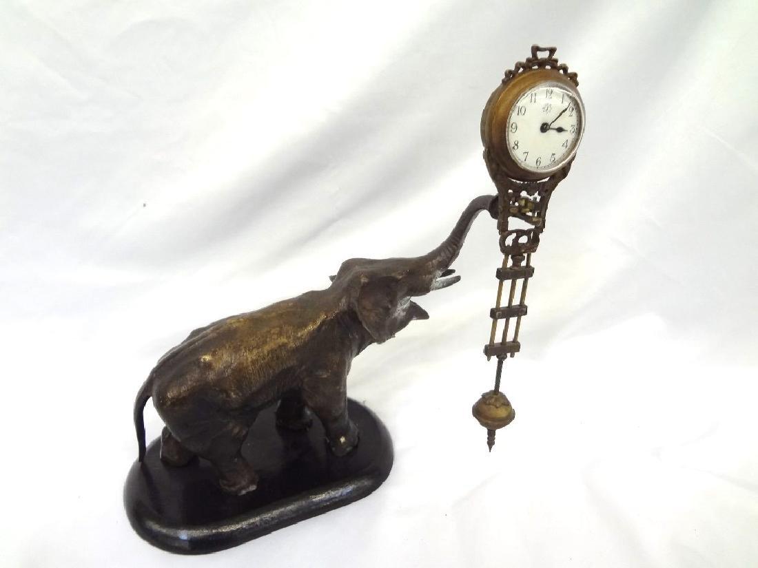 Jungham German Patinated Spelter Elephant Clock