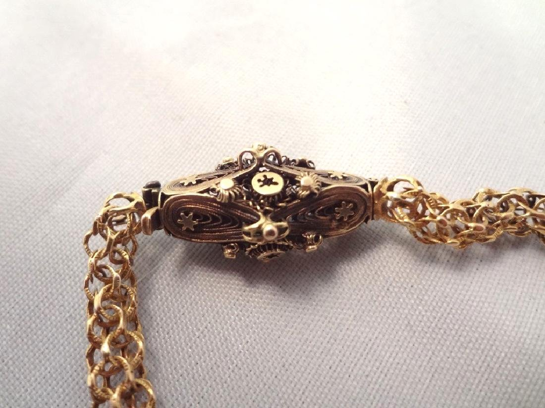 18k Gold Fancy 19th Century Necklace High Filigree - 4
