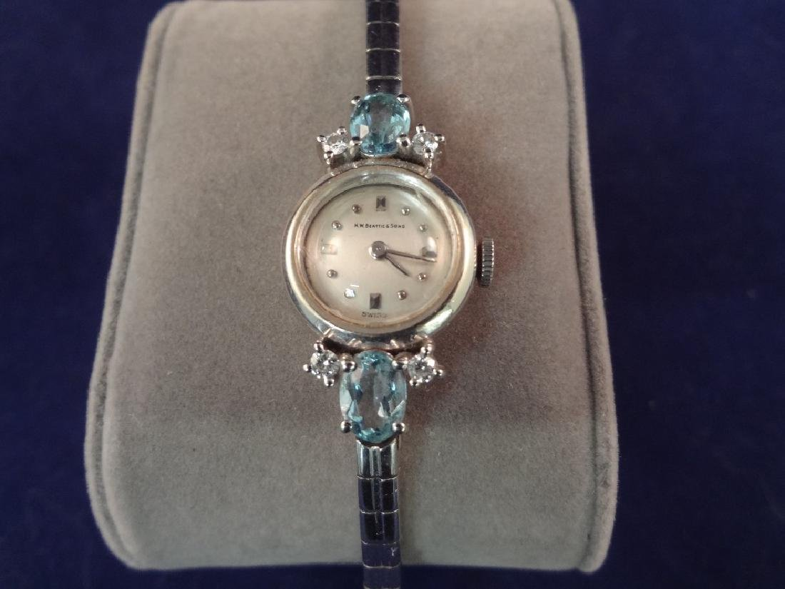 14k Gold Ladies Dress Watch Diamonds and Aquamarines