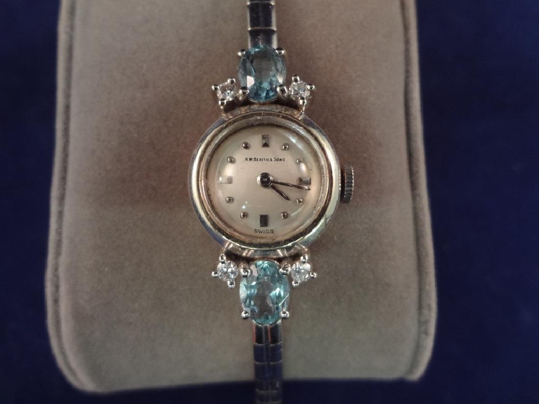 14k Gold Ladies Dress Watch Diamonds and Aquamarines - 2