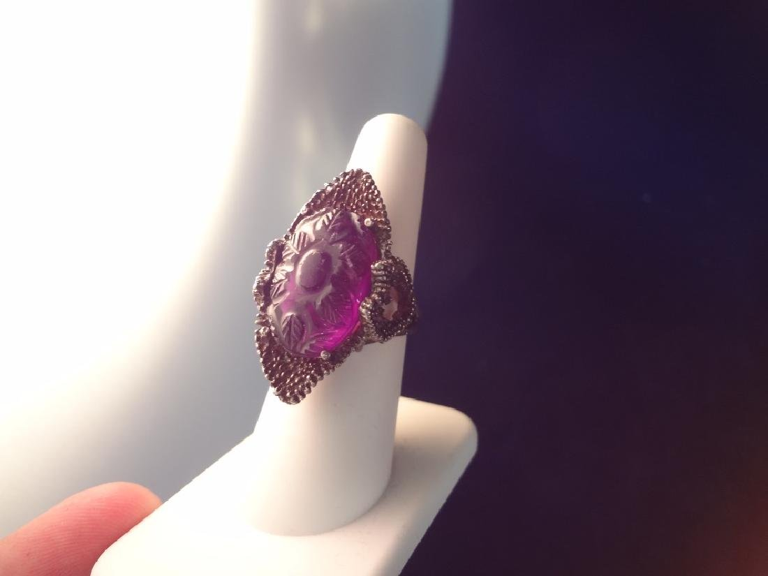 Sterling Silver Ring with Large Carved Amethyst - 4