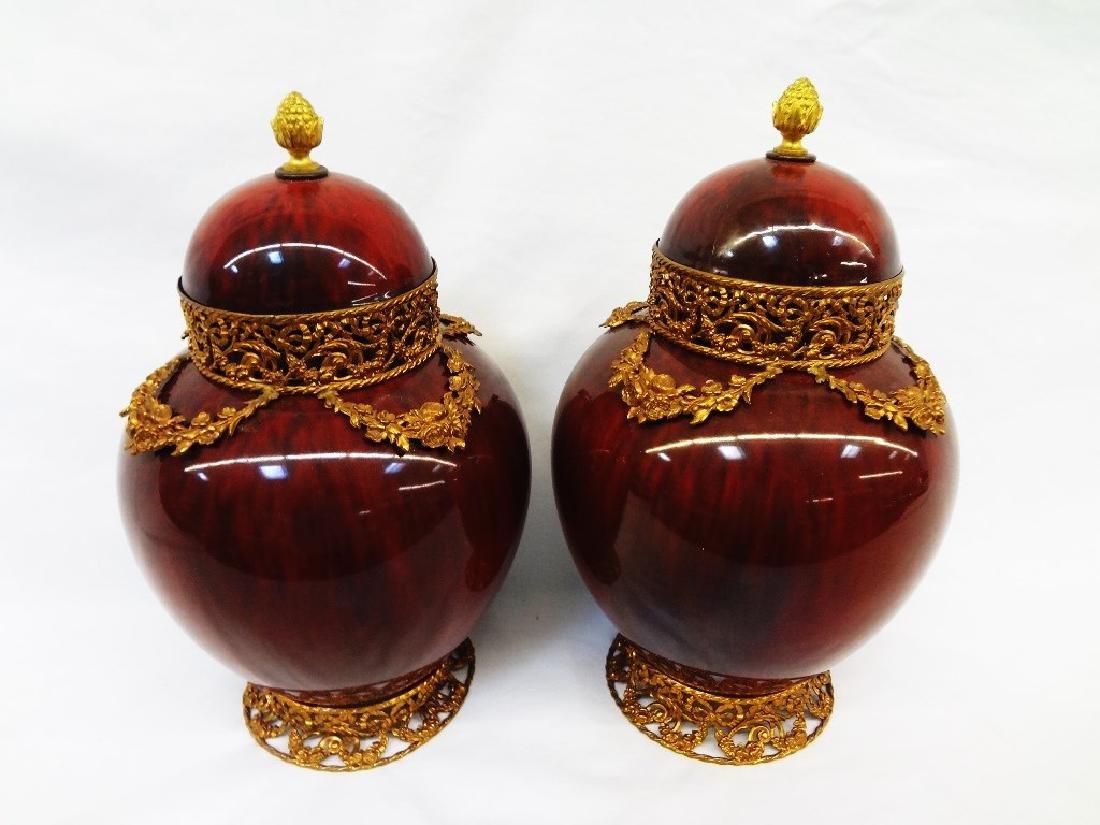 Paul Milet France Sevres Pair Covered Jars