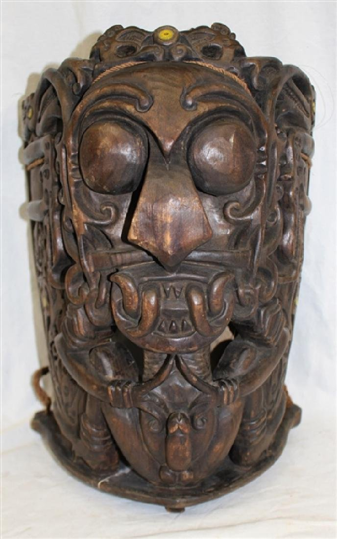 Southeast Asia Carved Wood Baby Carrier for Male Babies