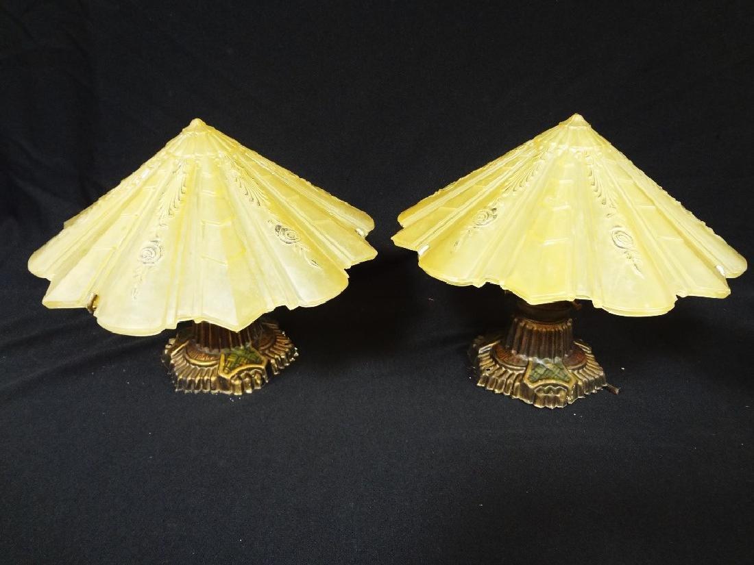(2) Art Deco 1930's Amber Hanging Lamp Shades