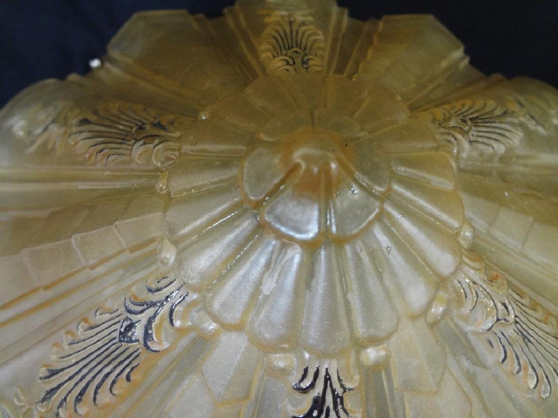(2) Art Deco 1930's Amber Hanging Lamp Shades - 4