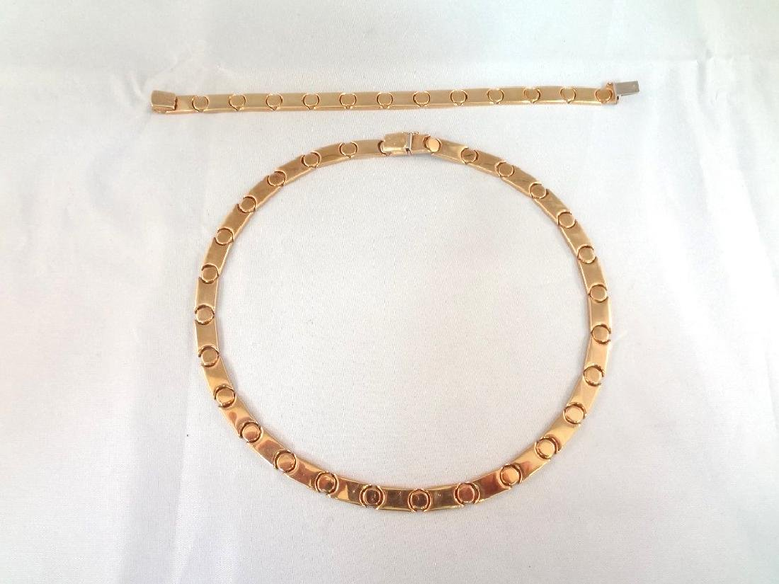 14k Gold Ladies Choker and Bracelet Matching Set