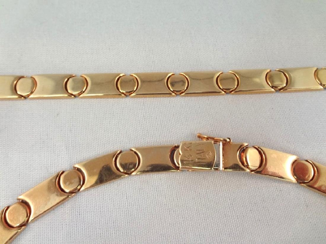 14k Gold Ladies Choker and Bracelet Matching Set - 2
