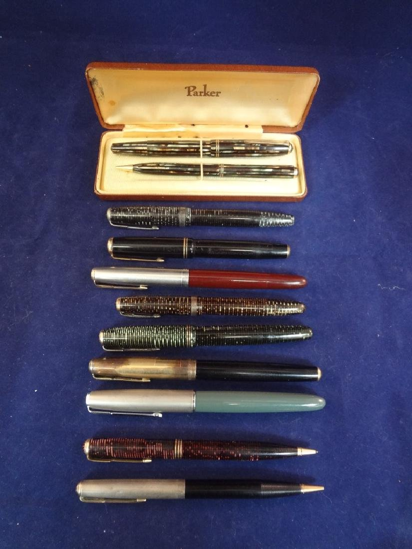 (10) Parker Fountain Pens and Pencils