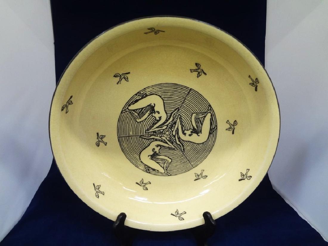 Art Nouveau Style Cream Transferware Serving Bowl
