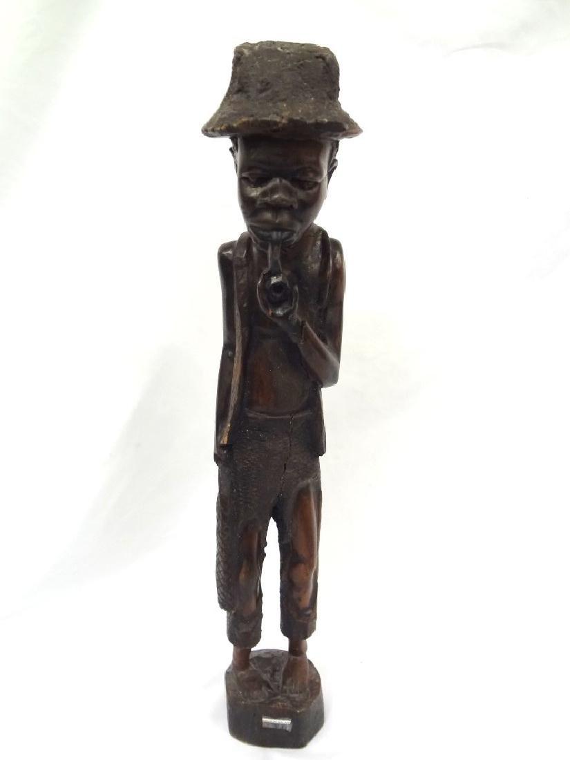 African Malawi Folk Art Hand Carved Man Smoking a Pipe
