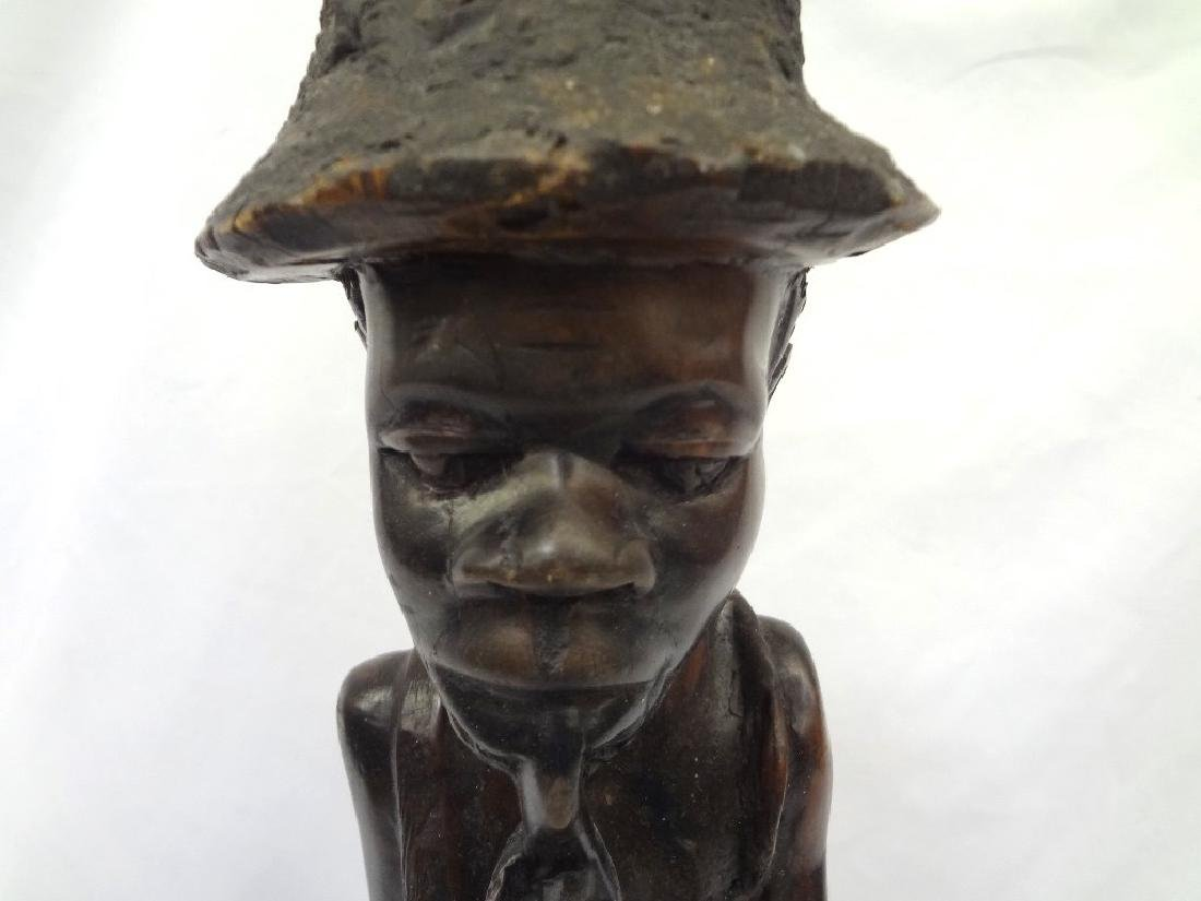 African Malawi Folk Art Hand Carved Man Smoking a Pipe - 2