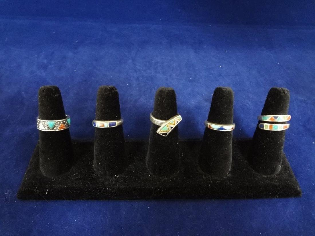 (5) Carolyn Pollack Sterling Silver Turquoise Rings