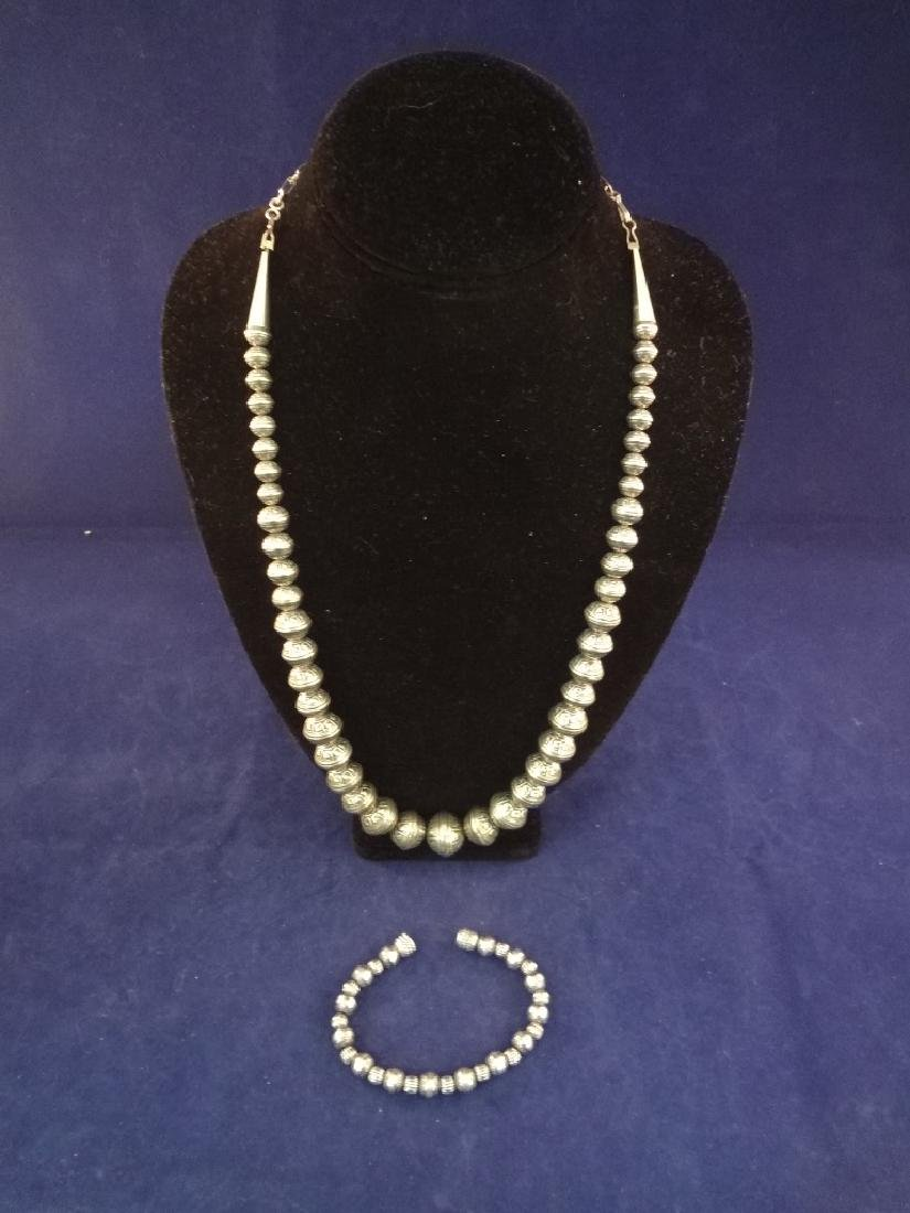 Carolyn Pollack Sterling Silver Bench Bead Necklace and