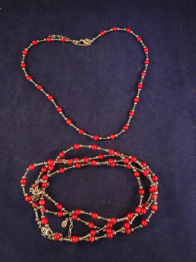 Carolyn Pollack Sterling Silver Coral Necklaces (3)