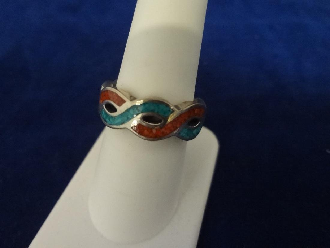 (5) Carolyn Pollack Sterling Silver and Turquoise Rings - 5