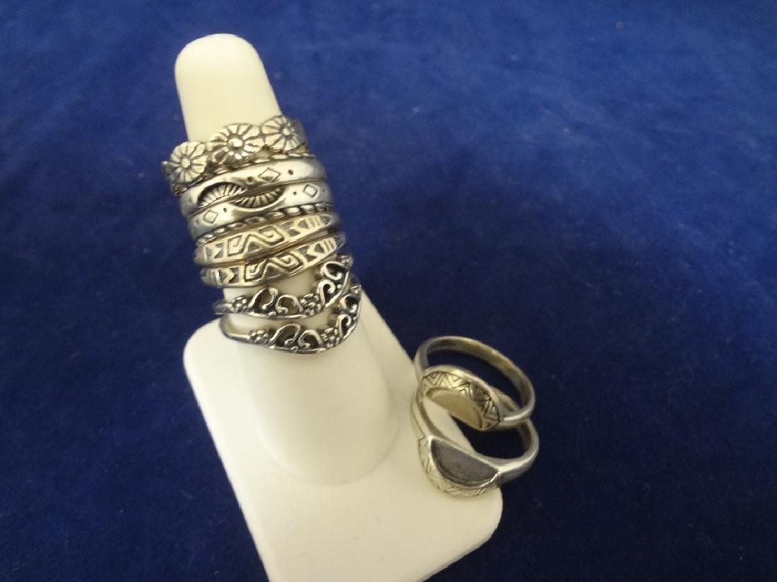(9) Carolyn Pollack Sterling Silver Stackable Rings