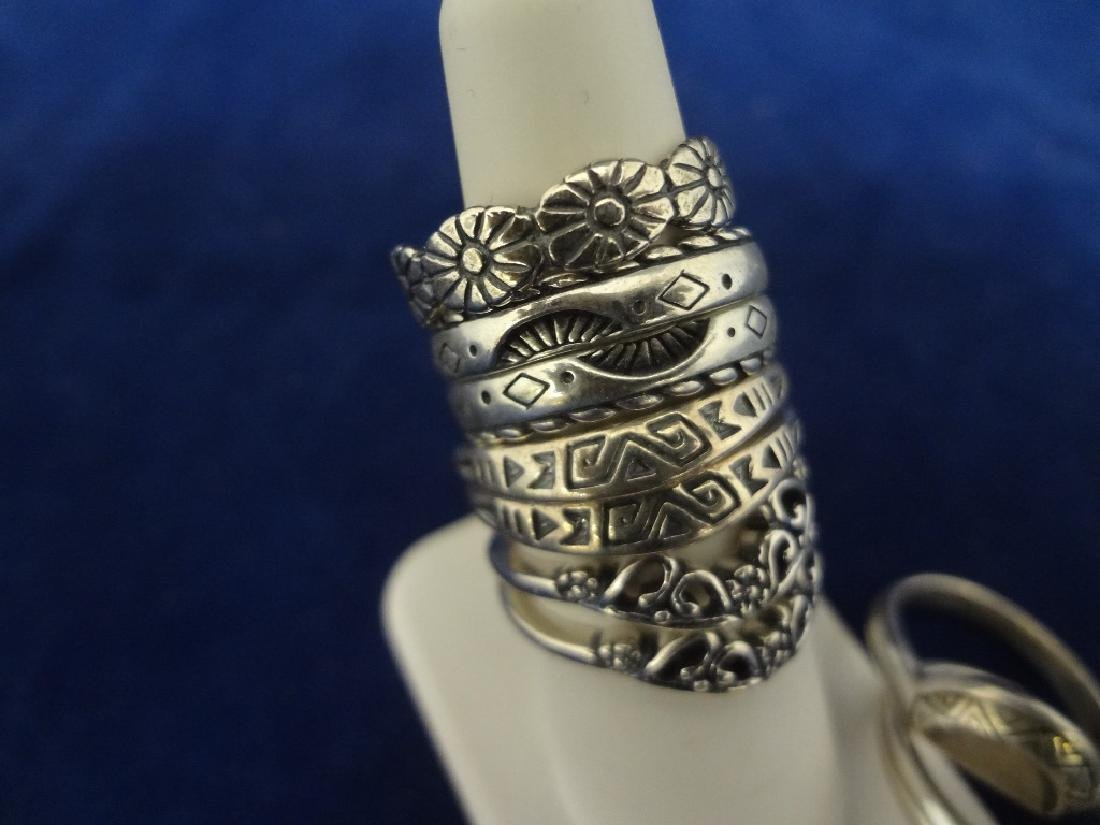 (9) Carolyn Pollack Sterling Silver Stackable Rings - 2