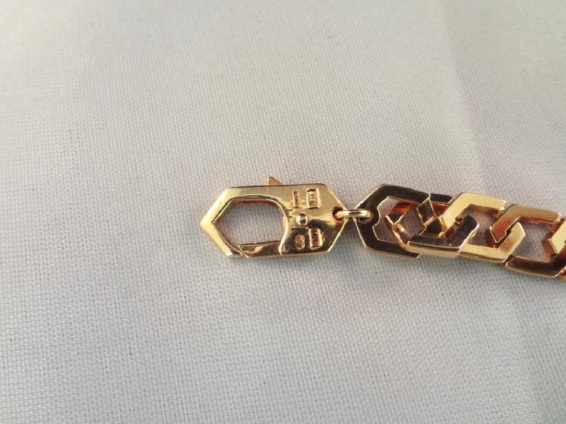 14k Yellow Gold Solid Bracelet Interlocking Links - 3