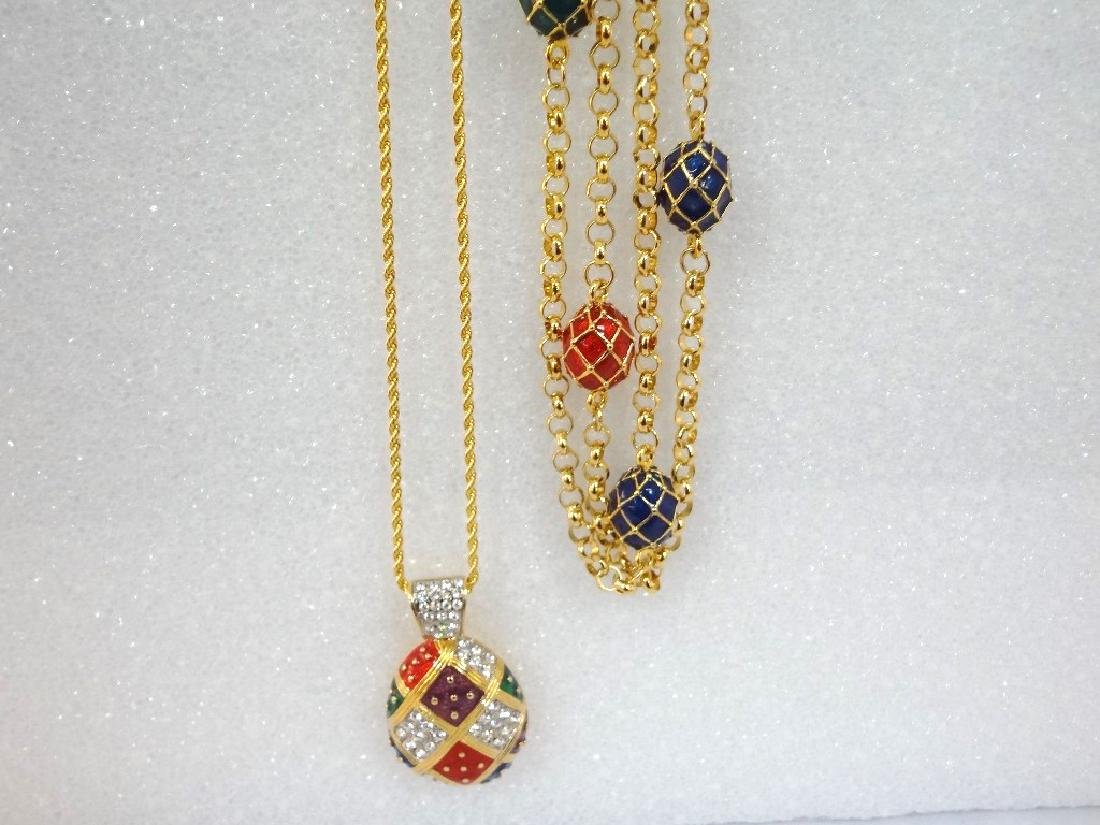 (2) Joan Rivers Faberge Egg Necklaces with Egg Pendants