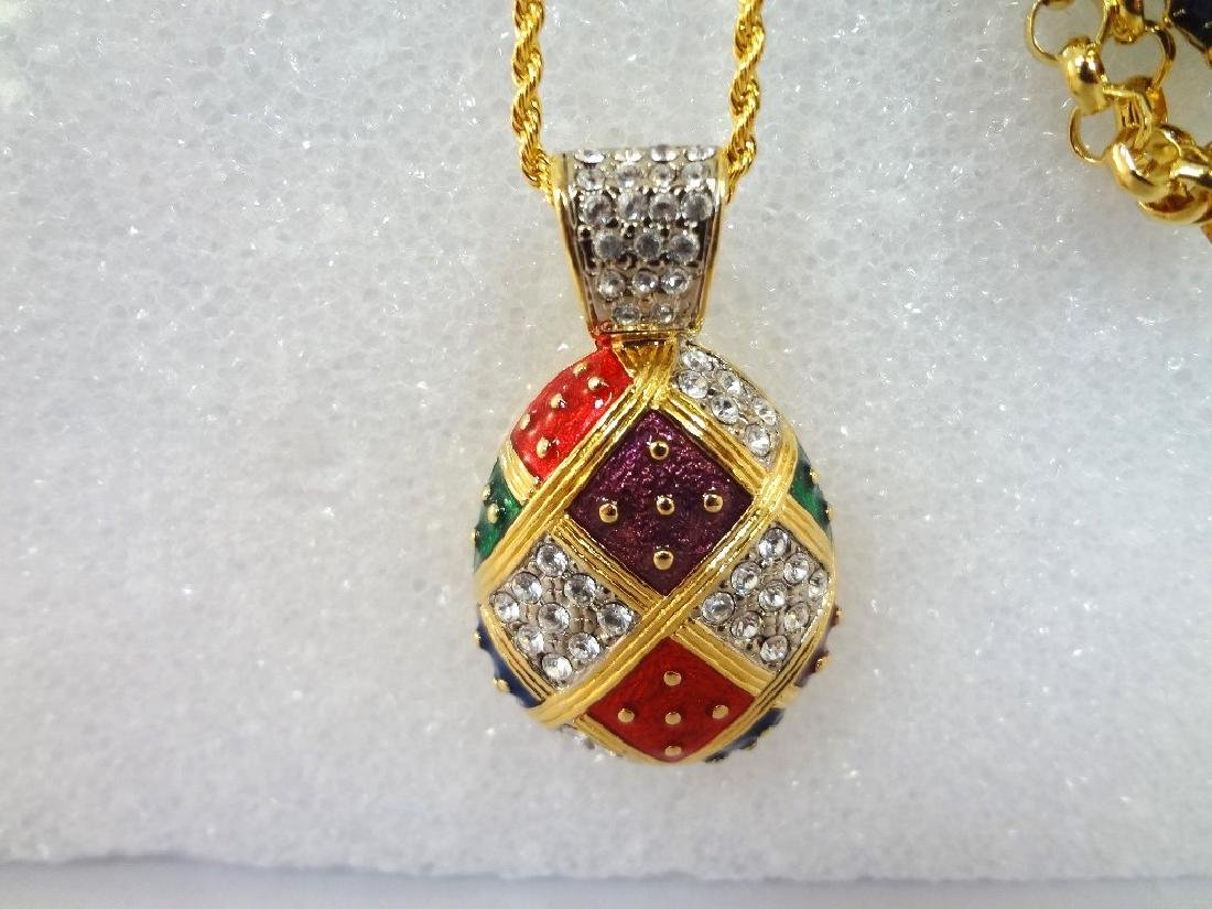 (2) Joan Rivers Faberge Egg Necklaces with Egg Pendants - 2