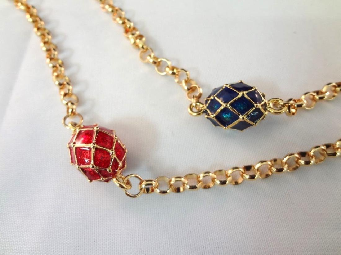 (2) Joan Rivers Faberge Egg Necklaces with Egg Pendants - 5