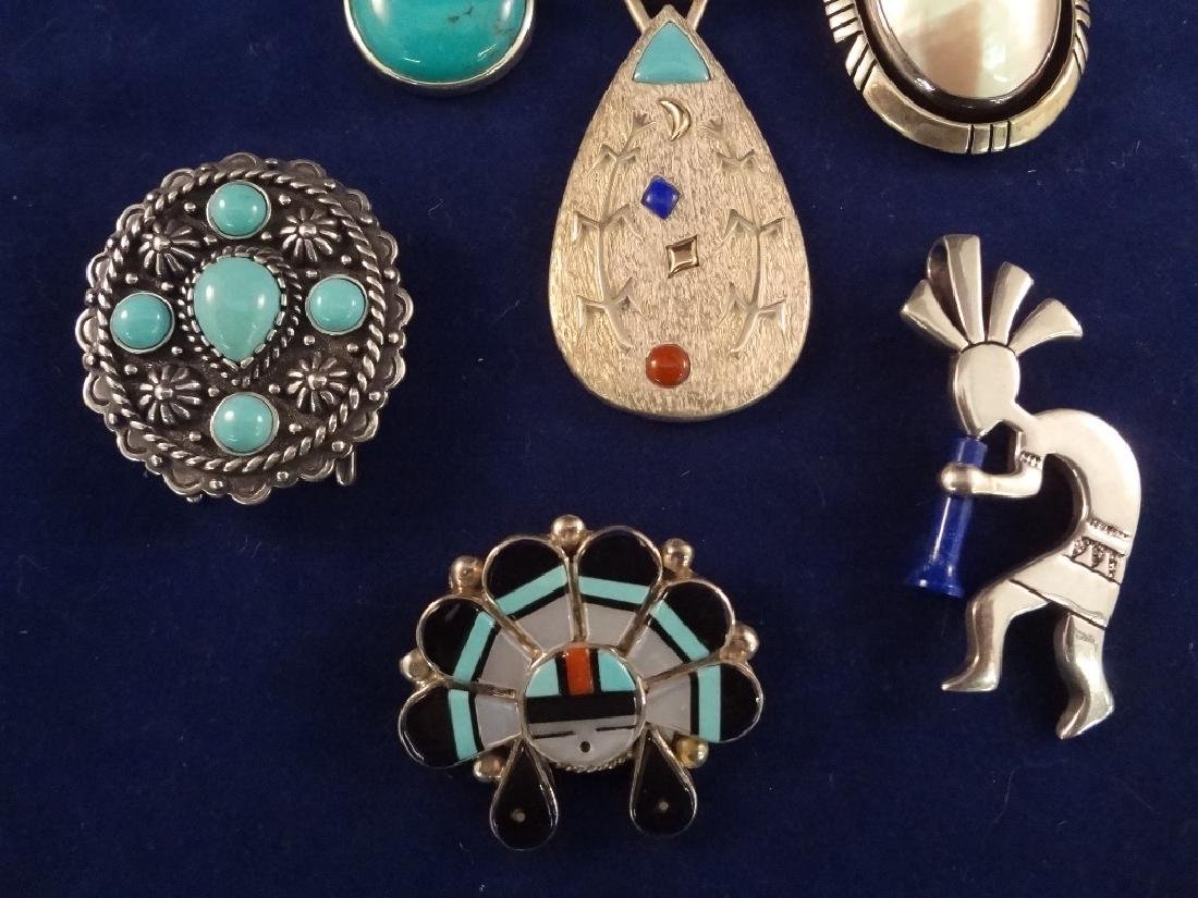Southwest Sterling Silver, Enamel Pendants - 2