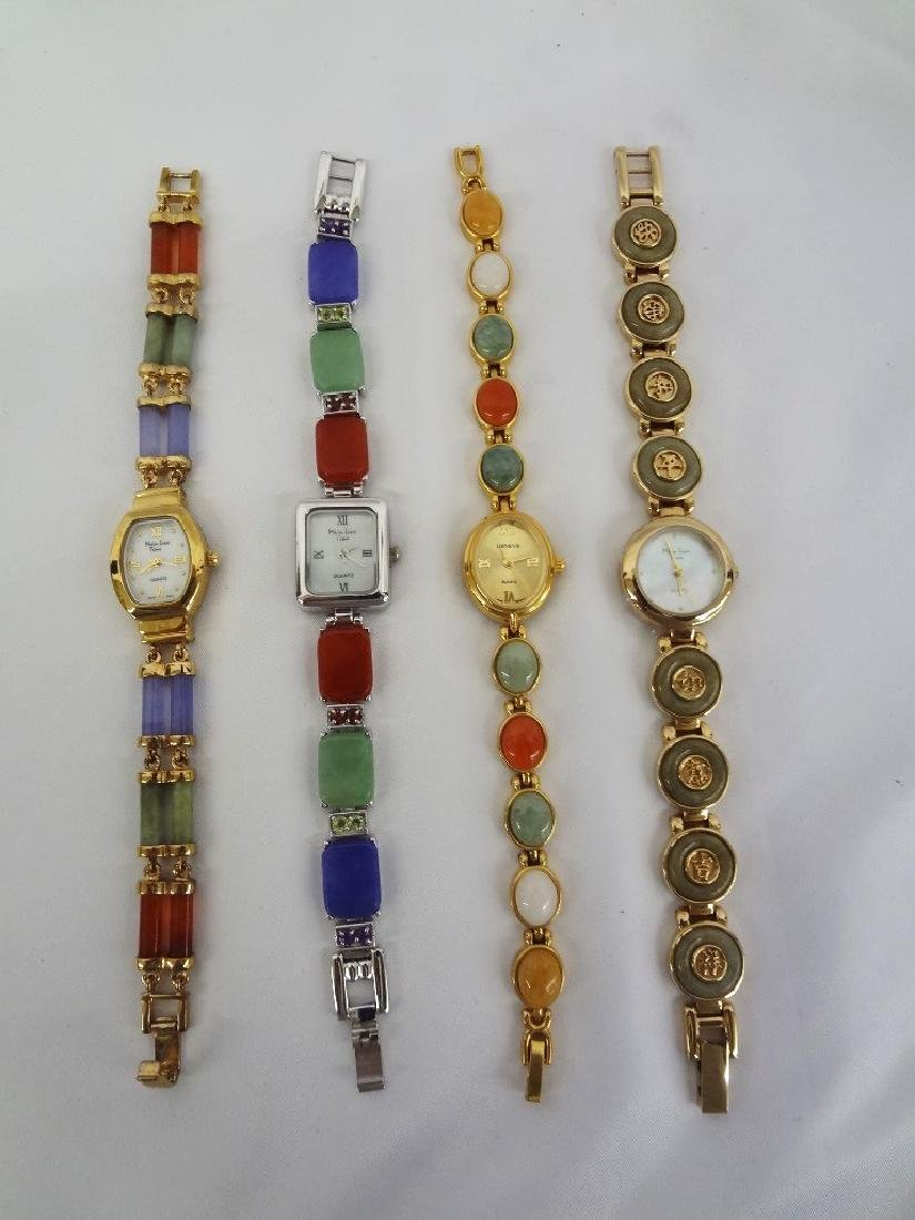 (4) Jade Watches: Gold and Silver Tone with Jade