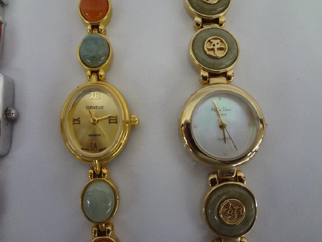 (4) Jade Watches: Gold and Silver Tone with Jade - 3