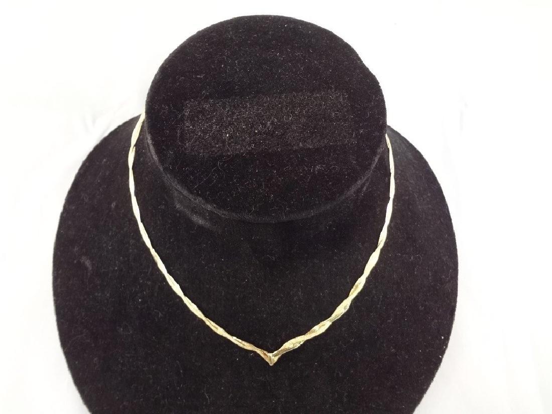 14k Gold Intertwined Herringbone Necklace