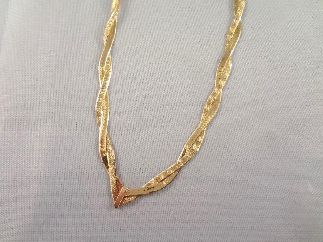 14k Gold Intertwined Herringbone Necklace - 2