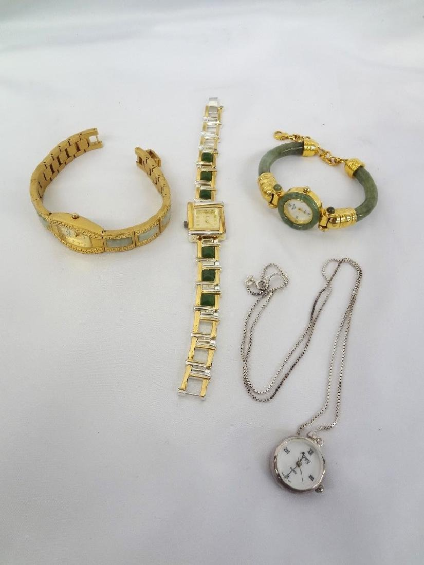 (4) Jade Watches Sterling, and Gold Tone